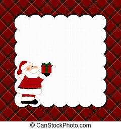 Christmas Plaid Background with Santa for your message or invitation with copy-space