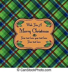 Christmas plaid tartan pattern card, green
