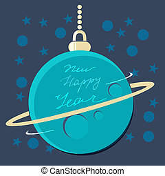 Christmas planet bauble with New Year greeting - Blue...