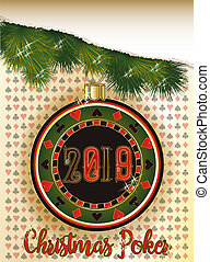 Christmas Poker chip, New 2019 Year card, vector...