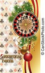 Christmas poker postcard, vector