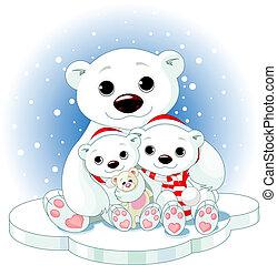 Christmas Polar bear family - Christmas Polar bear family on...