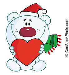 Christmas Polar Bear Holding A Hear