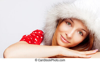 Christmas portrait of beautiful young woman