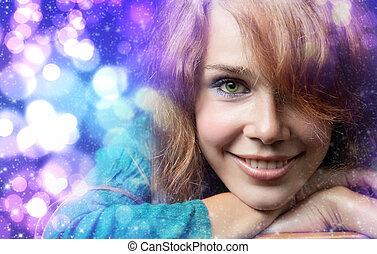 Christmas portrait of happy cute woman