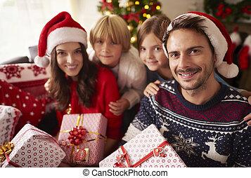 Christmas portrait of loving family