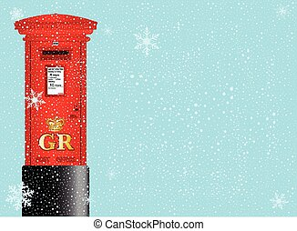 Christmas Post Box - A cold winter snowflake background with...