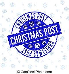 Christmas Post Grunge Round Stamp Seal for Christmas