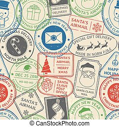 Christmas postal pattern. Santa Claus postmark cachet, winter holiday postage card stamp and north pole mail stamps vector background