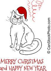 Christmas postcard design with santa cat