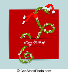 Christmas postcard design with snake, symbol of chinese new year 2013
