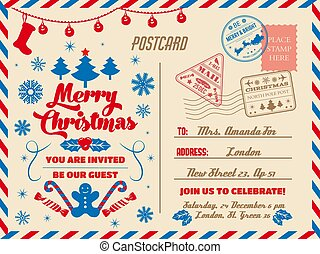 Christmas postcard, holiday party invitation