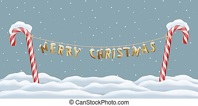 Christmas postcard template. Merry Christmas golden letters hanging between red candy canes on snowing winter background. Vector illustration.