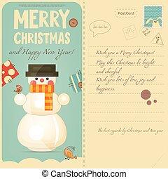 Christmas Postcard - Vintage Postcard with Christmas and New...
