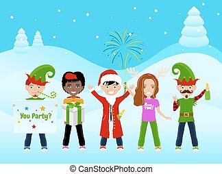 Christmas Postcard With 5 Characters