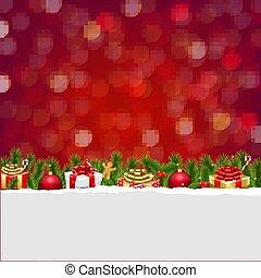 Christmas Postcard With Bokeh And Gift Box