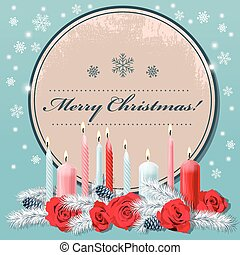 Christmas postcard with candles
