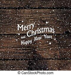 Christmas postcard with Falling Snow and Merry Christmas greeting