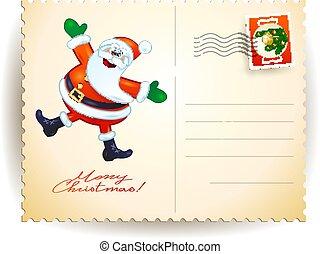 Christmas postcard with funny Santa, vector illustration