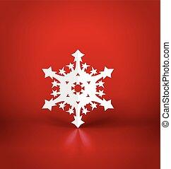 Christmas postcard with origami snowflake, vector illustration.