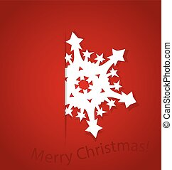 Christmas postcard with origami snowflake, vector illustration.
