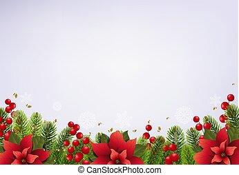 Christmas Postcard With Poinsettia Border
