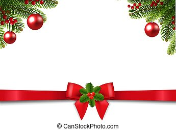 Christmas Postcard With Poinsettia Border With Holly Berry And Ribbon