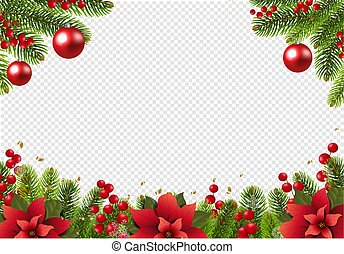 Christmas Postcard With Poinsettia Border With Holly Berry Transparent Background