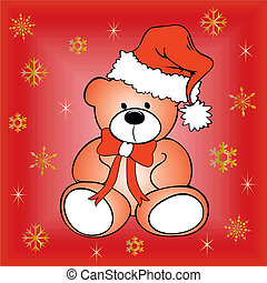 Christmas postcard with teddy bear