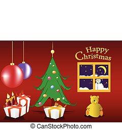 christmas postcard with tree