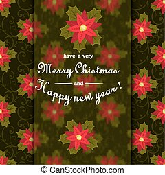 Christmas Postcard with Wreath Made of Holly Berry, White Flowers,