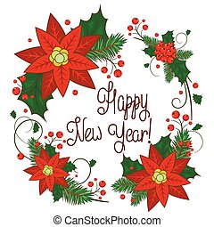 Christmas Postcard with Wreath Made of Holly Berry,