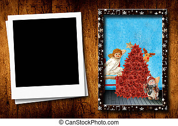 Christmas postcards empty photo frame