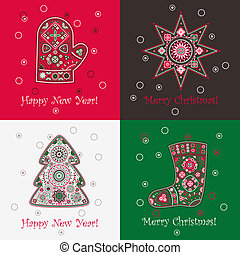 Christmas postcards set