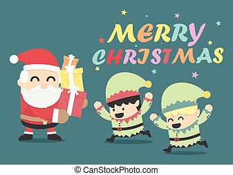 Christmas poster design Christmas card with Santa Claus and Elve