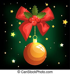 christmas poster with ball hanging and ribbon bow