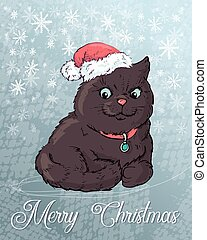 Christmas poster with cat portrait in red Santa s hat and bow. Vector illustration.