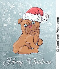 Christmas poster with dog portrait in red Santa s hat and green checkered neckerchief with bow.