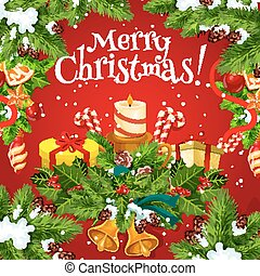 Christmas poster with New Year holiday garland