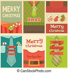 Christmas Posters Set. Christmas Clothes and Accessories....