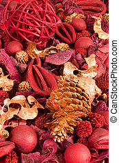 Background of red and golden scented Chritsmas potpourri.