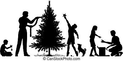 Christmas preparation - Editable vector silhouette of a...