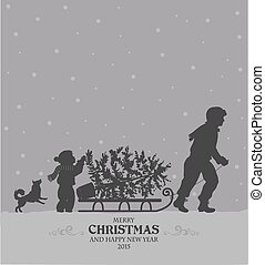 Christmas preparing - Christmas retro stylized card with Dad...