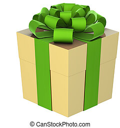 Christmas Present (box) with Bow - A gold christmas present...