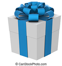 A white christmas present with a blue bow. Isolated on a white background