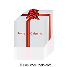 Christmas present box with reflection