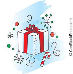 Christmas Present - A cartoon Christmas present in a...