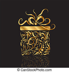 Christmas Present Gift Box Gold design