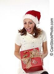 Christmas Present Joyful Woman