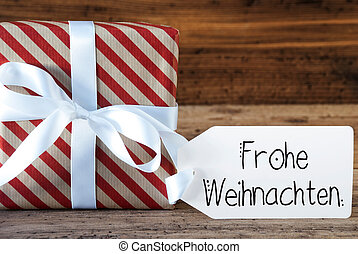 Christmas Present, Label, Frohe Weihnachten Means Merry Christmas, Bow
